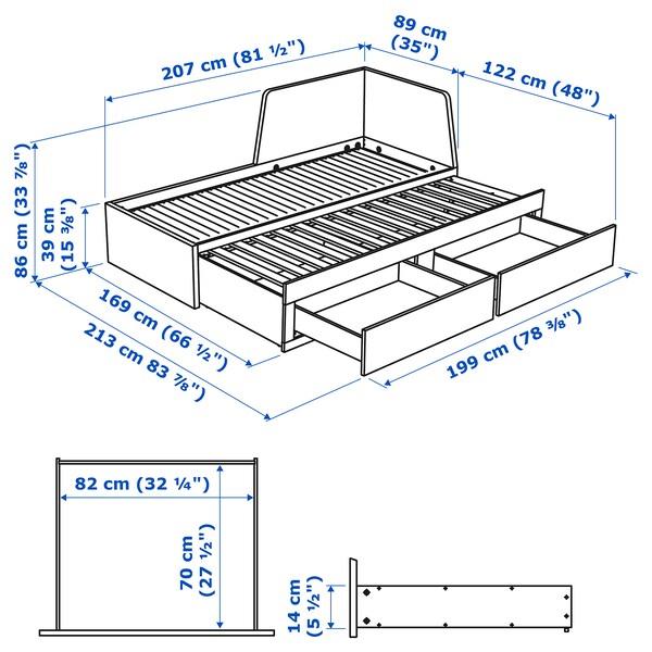 FLEKKE Rozkladacia posteľ, 2 zás/2 matrace, čiernohnedá/Malfors tvrdý, 80x200 cm