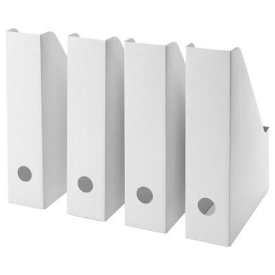FLUNS stojan na časopisy biela 7 cm 23 cm 30 cm 4 ks