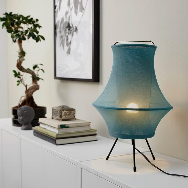 FYXNÄS Stolová lampa, tyrkysová, 44 cm