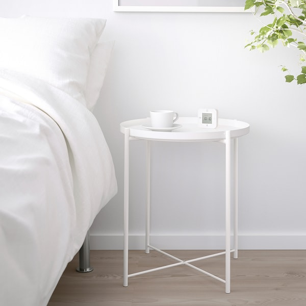 GLADOM Stolík s podnosom, biela, 45x53 cm