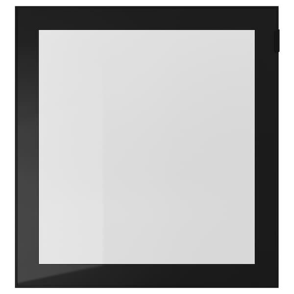 GLASSVIK Sklenené dvere, čierna/číre sklo, 60x64 cm