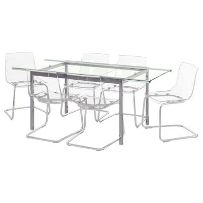 GLIVARP / TOBIAS Stôl a 6 sltoličiek, priehľadná/priehľadná, 188 cm