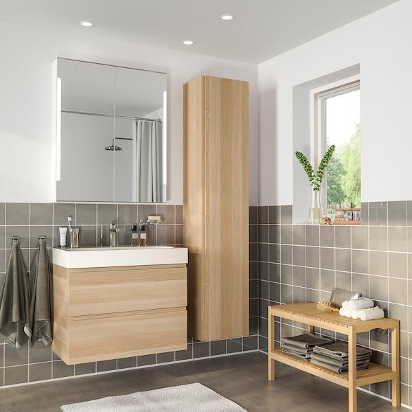 GODMORGON / BRÅVIKEN nábytok do kúpeľne, súprava 5ks bielo morený dub vzor/Batérie BROGRUND 80 cm 60 cm 49 cm 89 cm