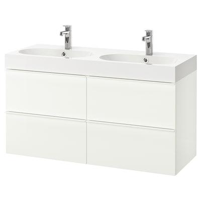 GODMORGON / BRÅVIKEN Skrinka na umývadlo so 4 zásuvkami, lesklá biela/Batérie BROGRUND, 120x48x68 cm