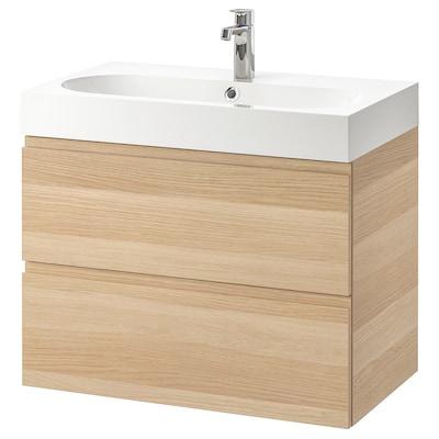 GODMORGON / BRÅVIKEN Skrinka pod umývadlo s 2 zásuvkami, bielo morený dub vzor/Batérie BROGRUND, 80x48x68 cm