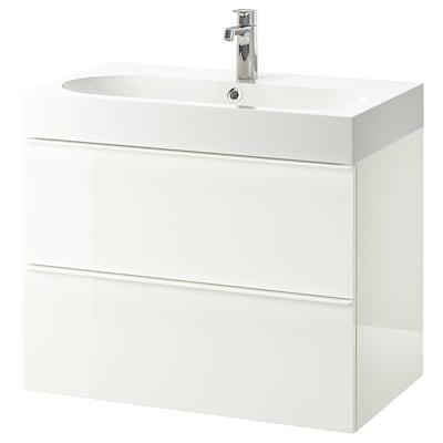 GODMORGON / BRÅVIKEN Skrinka pod umývadlo s 2 zásuvkami, lesklá biela/Batérie BROGRUND, 80x48x68 cm