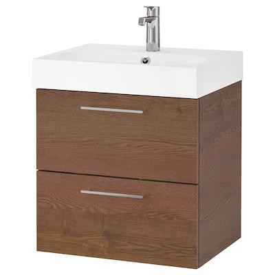 GODMORGON / BRÅVIKEN Skrinka pod umývadlo s 2 zásuvkami, vzhľad hnedo moreného jaseňa/Batérie BROGRUND, 61x49x68 cm