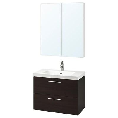 GODMORGON / ODENSVIK nábytok do kúpeľne, súprava 4ks čiernohnedá/Batérie DALSKÄR 83 cm 60 cm 49 cm 89 cm