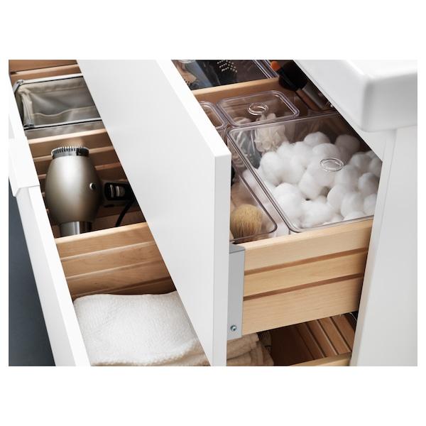 GODMORGON / ODENSVIK Skrinka pod umývadlo s 2 zásuvkami, biela/Batérie DALSKÄR, 83x49x64 cm