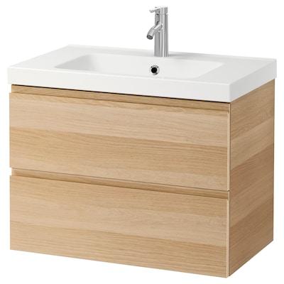 GODMORGON / ODENSVIK Skrinka pod umývadlo s 2 zásuvkami, bielo morený dub vzor/Batérie DALSKÄR, 83x49x64 cm