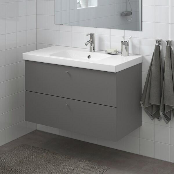 GODMORGON / ODENSVIK Skrinka pod umývadlo s 2 zásuvkami, Gillburen tmavosivá/Batérie DALSKÄR, 103x49x64 cm