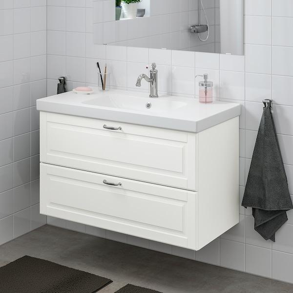 GODMORGON / ODENSVIK Skrinka pod umývadlo s 2 zásuvkami, Kasjön biela/Batérie HAMNSKÄR, 103x49x64 cm