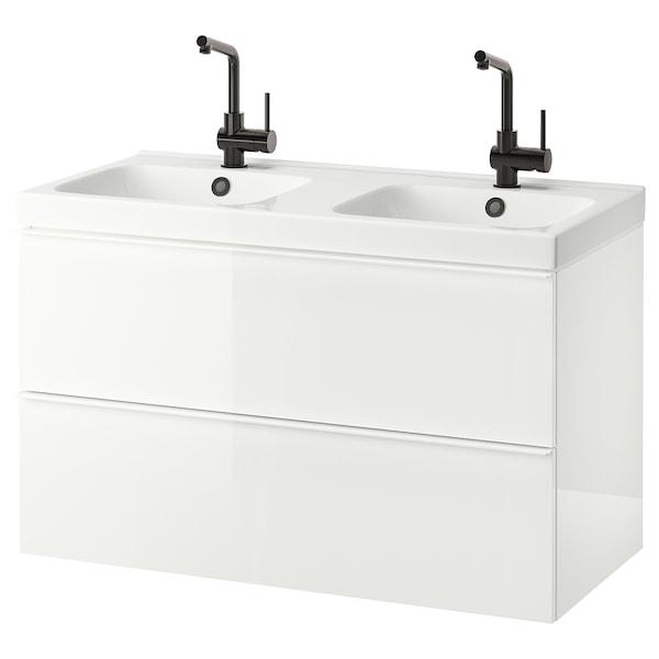 GODMORGON / ODENSVIK Skrinka pod umývadlo s 2 zásuvkami, lesklá biela/Batéria LUNDSKÄR, 103x49x64 cm
