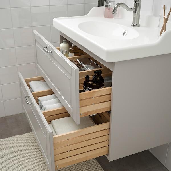 GODMORGON / RÄTTVIKEN nábytok do kúpeľne, súprava 4ks Kasjön svetlosivá/Batérie HAMNSKÄR 82 cm 80 cm 49 cm 89 cm