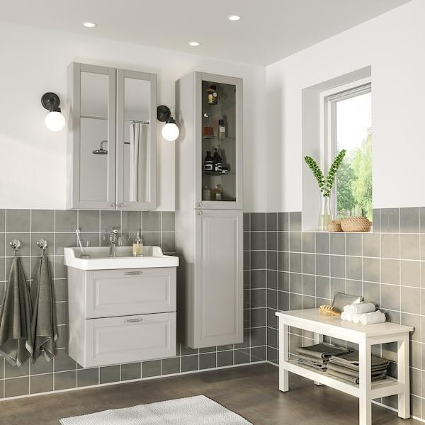 GODMORGON / RÄTTVIKEN nábytok do kúpeľne, súprava 5ks Kasjön svetlosivá/Batérie HAMNSKÄR 62 cm 60 cm 49 cm 89 cm