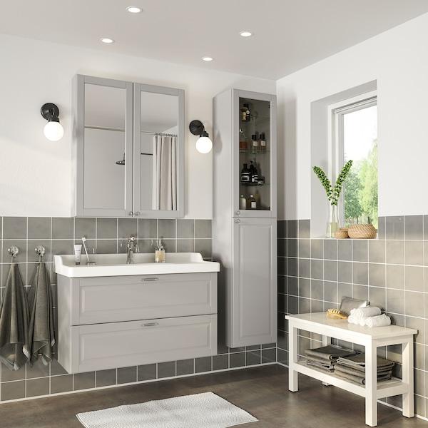 GODMORGON / RÄTTVIKEN nábytok do kúpeľne, súprava 5ks Kasjön svetlosivá/Batérie HAMNSKÄR 102 cm 100 cm 49 cm 89 cm