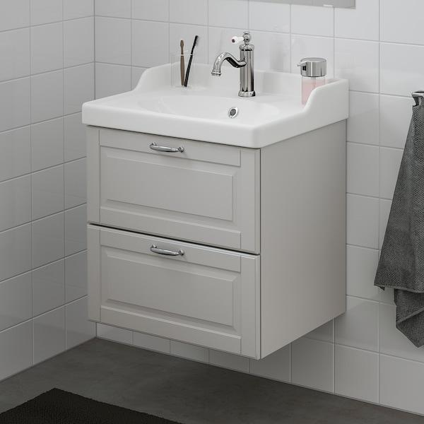 GODMORGON / RÄTTVIKEN Skrinka pod umývadlo s 2 zásuvkami, Kasjön svetlosivá/Batérie HAMNSKÄR, 62x49x68 cm