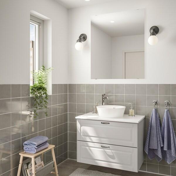 GODMORGON/TOLKEN / KATTEVIK nábytok do kúpeľne, súprava 5ks Kasjön svetlosivá/mramorový efekt Batérie VOXNAN 82 cm 80 cm 49 cm 89 cm