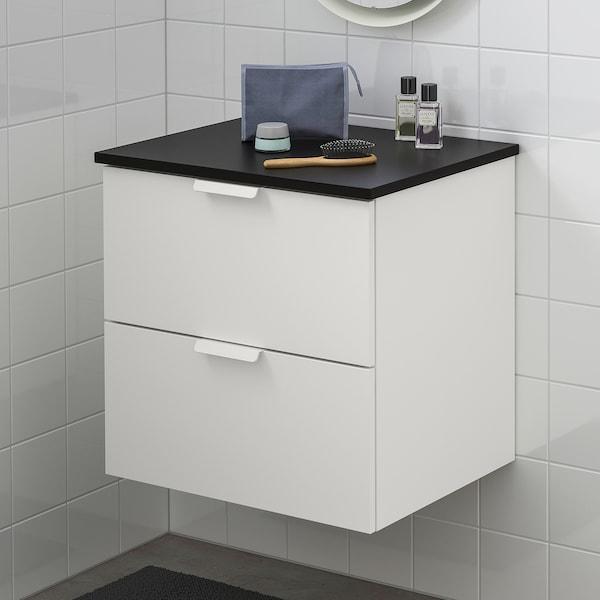 GODMORGON / TOLKEN Skrinka pod umývadlo s 2 zásuvkami, biela/antracit, 62x49x60 cm