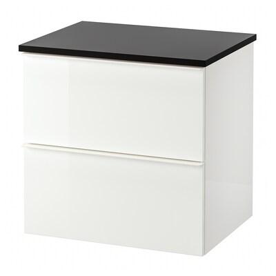 GODMORGON / TOLKEN Skrinka pod umývadlo s 2 zásuvkami, lesklá biela/antracit, 62x49x60 cm