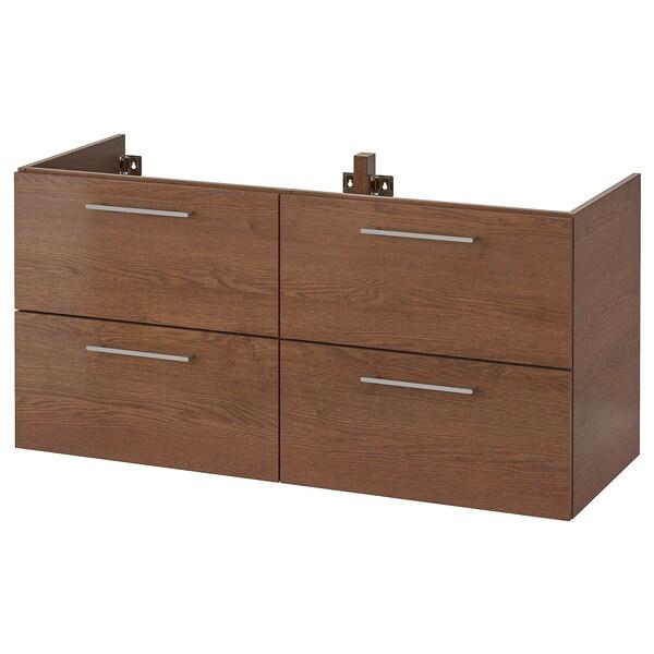 GODMORGON skrinka na umývadlo so 4 zásuvkami vzhľad hnedo moreného jaseňa 120 cm 47 cm 58 cm