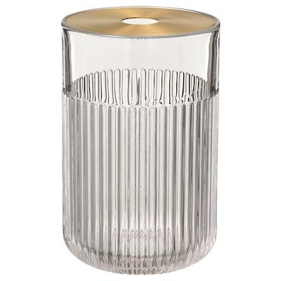 GRADVIS Váza s kovovým vnútrom, číre sklo/zlatá, 21 cm