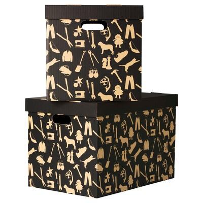 HÅBOL Škatuľa s vrchnákom, čierna, 56x37x36 cm