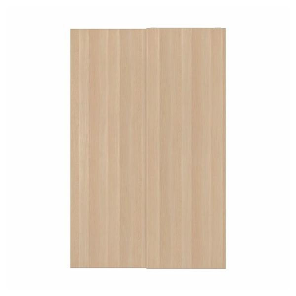 HASVIK Pár posuvných dverí, bielo morený dub vzor, 150x236 cm