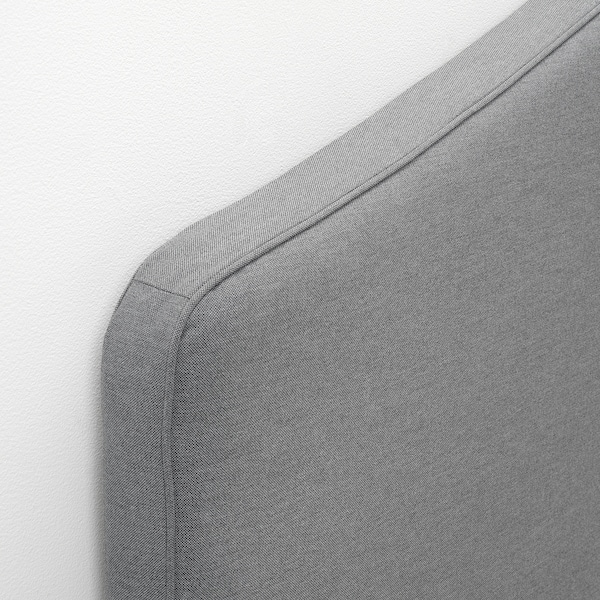 HAUGA Čalúnená posteľ, 2 úložné škatule, Vissle sivá, 160x200 cm