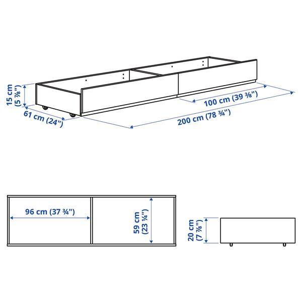 HAUGA Čalúnená škatuľa pod posteľ, Vissle sivá, 200 cm