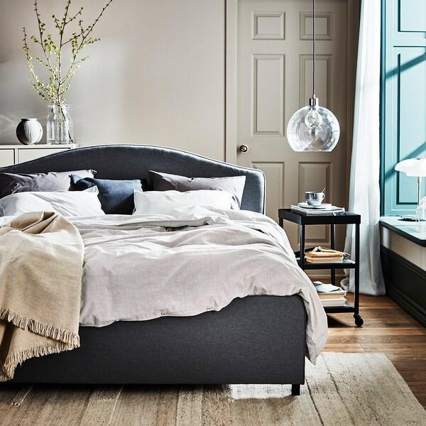 HAUGA Čalúnený posteľný rám, Vissle sivá, 140x200 cm