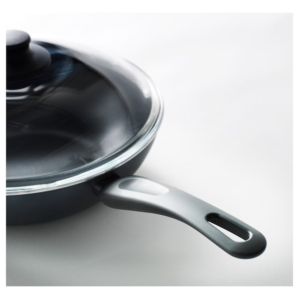 HEMLAGAD wok s pokrievkou čierna 8 cm 28 cm