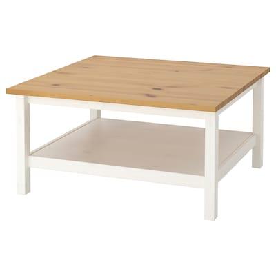HEMNES Konferenčný stolík, bielo morené /svetlohnedá, 90x90 cm