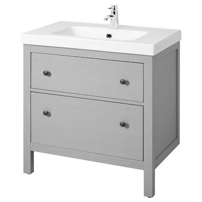 HEMNES / ODENSVIK Skrinka pod umývadlo s 2 zásuvkami, sivá, 83x49x89 cm
