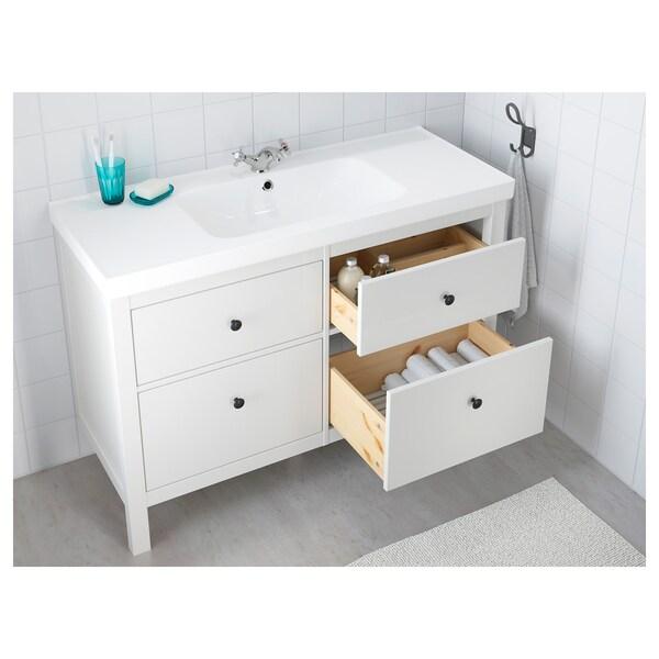 HEMNES / ODENSVIK skrinka na umývadlo so 4 zásuvkami biela 123 cm 49 cm 89 cm