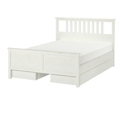 HEMNES Rám postele, 4 úložné diely, bielo morené, 180x200 cm