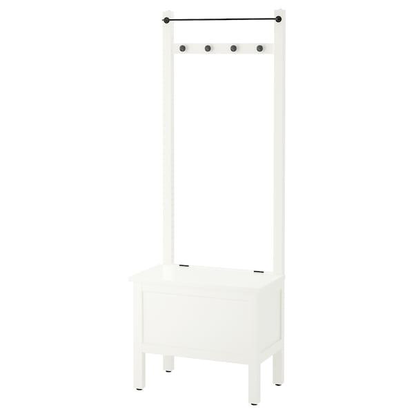 HEMNES úložná lavica, vešiak, 4 háčiky biela 64 cm 37 cm 173 cm