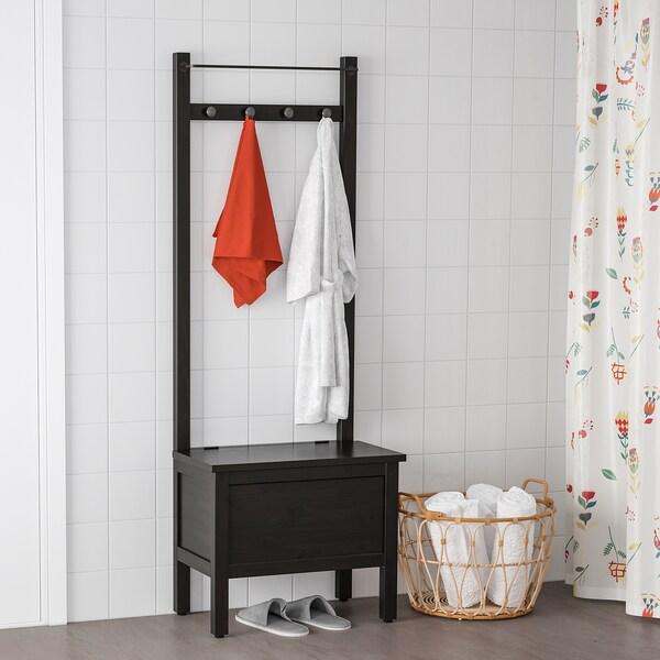 HEMNES úložná lavica, vešiak, 4 háčiky čierno-hnedá 64 cm 37 cm 173 cm
