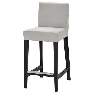 HENRIKSDAL Barová stolička, čiernohnedá/Orrsta svetlosivá, 63 cm