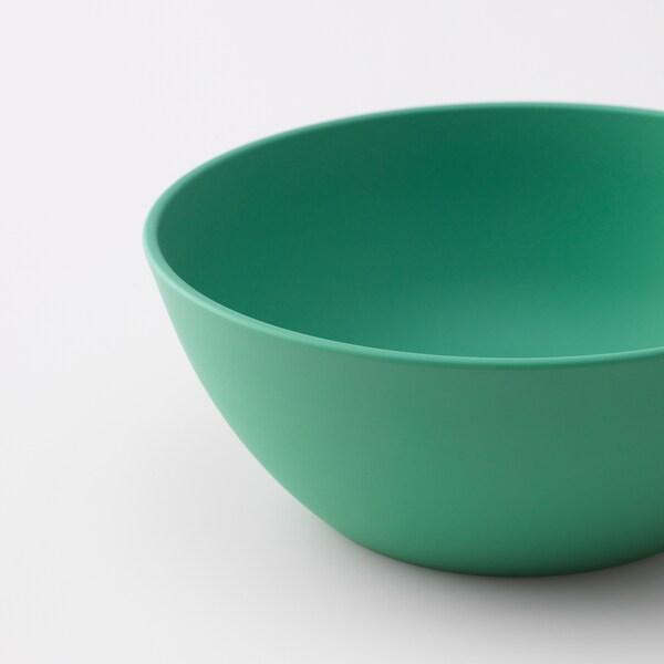 HEROISK Miska, zelená/žltá, 14 cm