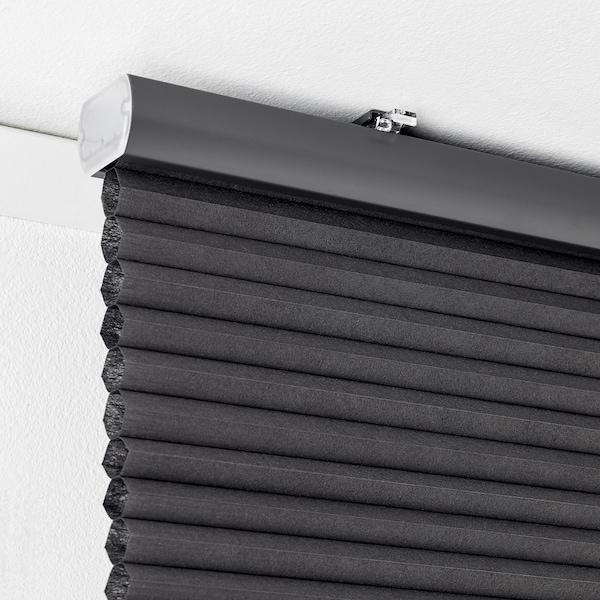 HOPPVALS Zatemňovacia roleta, sivá, 120x155 cm