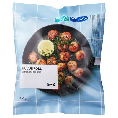 HUVUDROLL Lososovo-treskové guľôčky, Certifikované organizáciou ASC/certifikát MSC mrazené, 500 g