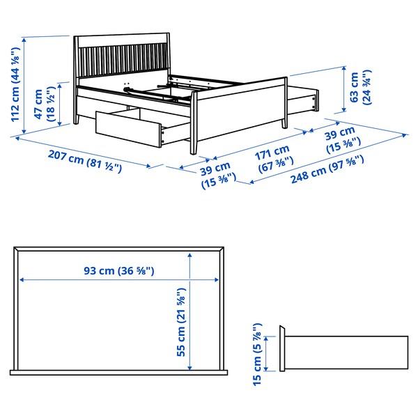 IDANÄS Rám postele s úložným priestorom, biela/Lönset, 160x200 cm
