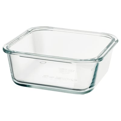 IKEA 365+ dóza na potraviny štvorec/sklo 15 cm 15 cm 6 cm 600 ml