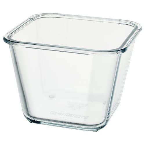 IKEA 365+ dóza na potraviny štvorec/sklo 15 cm 15 cm 11 cm 1.2 l