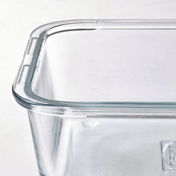 IKEA 365+ Dóza na potraviny, obdĺžnik/sklo, 1.0 l