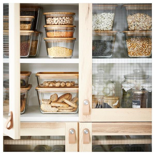 IKEA 365+ Dóza na potraviny s vrchnákom, obdĺžnik sklo/bambus, 1.0 l