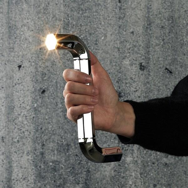 IKEA ART EVENT 2021 LED baterka, v tvare imbusového kľúča strieborná, 20 cm