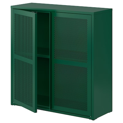 IVAR Skrinka s dverami, zelená sieťovina, 80x83 cm