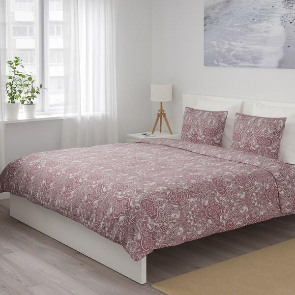 JÄTTEVALLMO posteľné obliečky biela/tmavoružová 152 inch² 2 ks 200 cm 200 cm 50 cm 60 cm